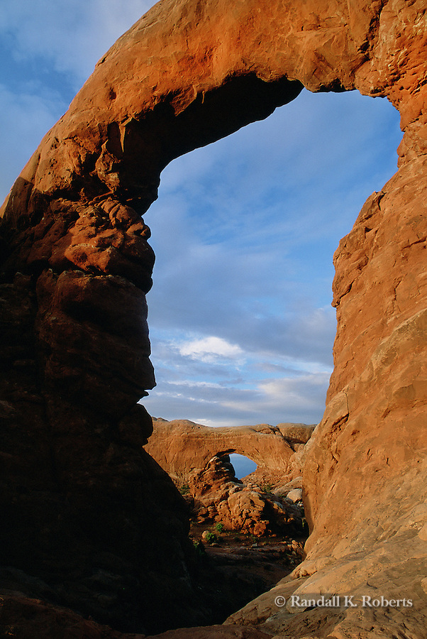 Turret Arch frames North Window Arch, Arches National Park, Utah