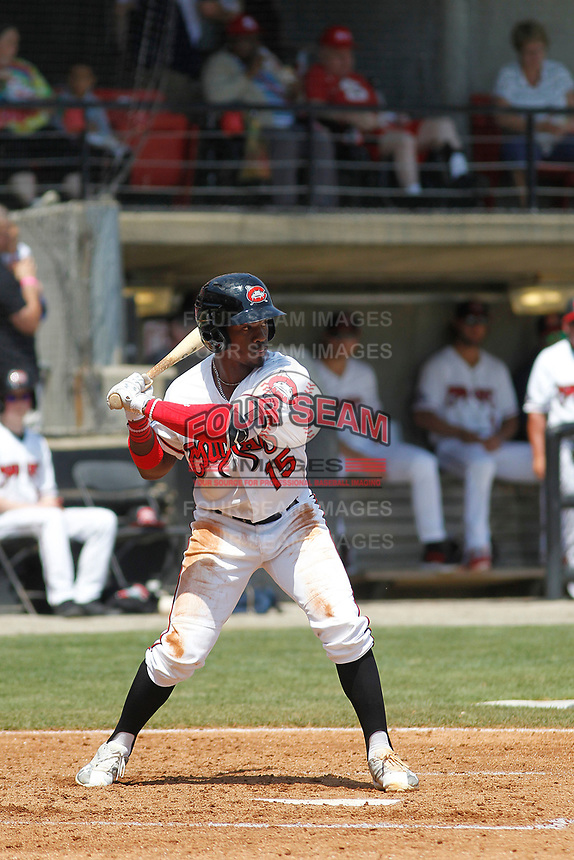Carolina Mudcats outfielder Troy Stokes Jr. (15) at bat during a game against the Down East Wood Ducks on April 27, 2017 at Five County Stadium in Zebulon, North Carolina. Carolina defeated Down East 9-7. (Robert Gurganus/Four Seam Images)