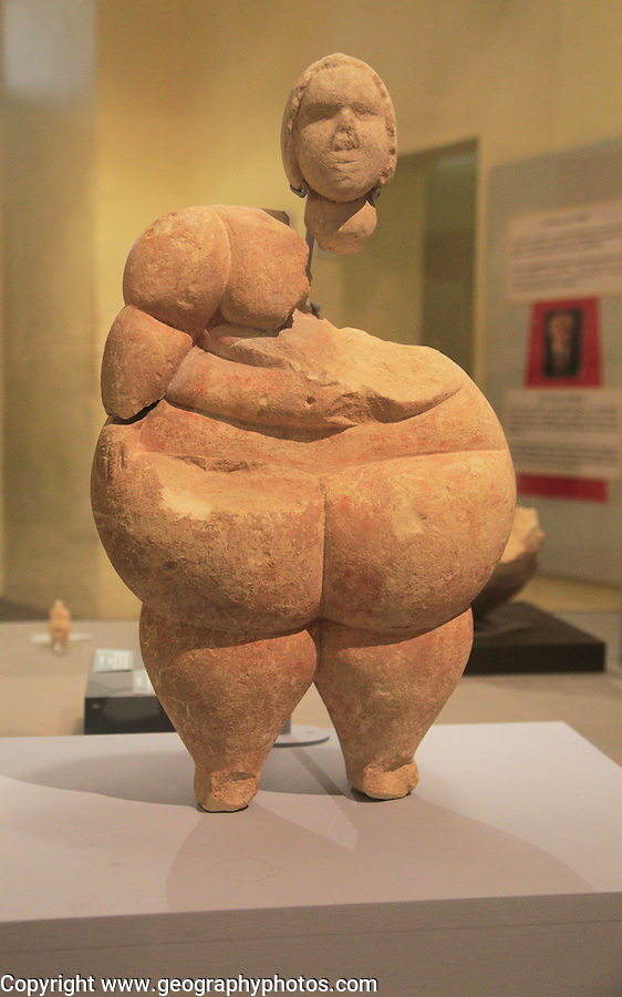 Stone woman figurine sculpture from Tarxien temples, National Museum of Archaeology, Valletta, Malta