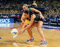 16.08.2015 Silver Ferns Grace Rasmussen and Australia's Remae Hallinan in action during the Silver Ferns v Australia Gold Medal netball match at the 2015 Netball World Cup at All Phones Arena in Sydney Australia. Mandatory Photo Credit ©Michael Bradley.