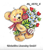 VALENTINE, VALENTIN, paintings+++++,KL4573/6,#v#, EVERYDAY ,sticker,stickers ,bear,bears