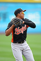 Norfolk Tides shortstop Jonathan Schoop #46 during warmups before a game against the Buffalo Bisons on May 9, 2013 at Coca-Cola Field in Buffalo, New York.  Norfolk defeated Buffalo 7-1.  (Mike Janes/Four Seam Images)