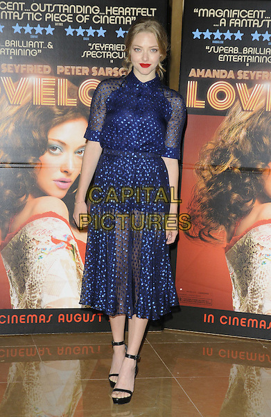 Amanda Seyfried<br /> 'Lovelace' special screening at the Mayfair Hotel, London, England.<br /> 12th August 2013<br /> full length black open toe ankle strap shoes blue dress sheer see through thru <br /> CAP/CAN<br /> &copy;Can Nguyen/Capital Pictures