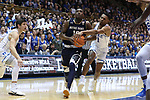 DURHAM, NC - JANUARY 29: Notre Dame's Temple TJ Gibbs (10) is fouled by Duke's Trevon Duval (1). The Duke University Blue Devils hosted the University of Notre Dame Fighting Irish on January 29, 2018 at Cameron Indoor Stadium in Durham, NC in a Division I men's college basketball game. Duke won the game 88-66.