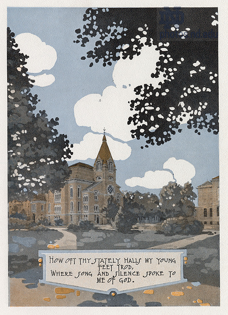 """Dome yearbook 1916, page 11:  Drawing of Main Quad with Washington Hall and Science Hall (LaFortune Hall) exterior..Caption:  """"How oft thy stately halls my young feet trod, where song and silence spoke to me of God."""".Drawing by Joseph Patrick Flynn.  Poem by Rev. Thomas E. Burke, CSC.  Image from the University of Notre Dame Archives."""
