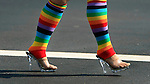Rainbow style stockings where seen at a crosswalk during at the Folsom Street fair in San Francisco, California.