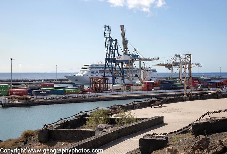 Cruise ship and cranes in port area of Arrecife, Lanzarote, Canary Islands, Spain