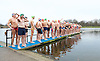 Serpentine Swimming Club <br /> Christmas Day Swimming race <br /> Serpentine, Hyde Park, London, Great Britain <br /> 25th December 2016 <br /> <br /> swimmers line up before race starts <br /> <br /> <br /> Photograph by Elliott Franks <br /> Image licensed to Elliott Franks Photography Services