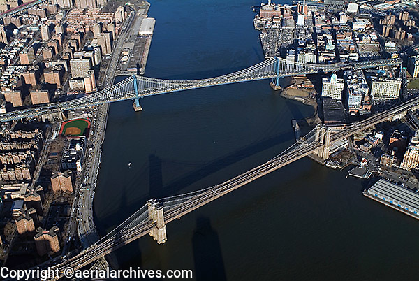 aerial photograph Brooklyn, Williamsburg  bridges, East river,Manhattan, New York City