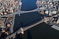 aerial photograph Brooklyn, Williamsburg  bridges, East river,Manhattan, New York City