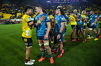 Ardie Savea chats with Dalton Papalii after the Super Rugby Aotearoa match between the Hurricanes and Blues at Sky Stadium in Wellington, New Zealand on Saturday, 18 July 2020. Photo: Dave Lintott / lintottphoto.co.nz