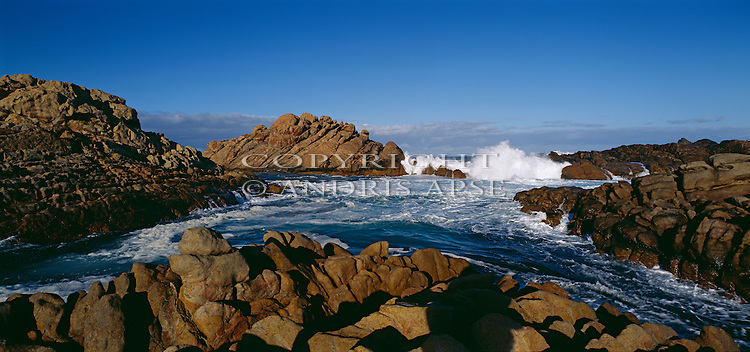 Waves breaking on the Canal Rocks. Western Australia. Australia.