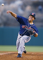 Bartolo Colon of the Cleveland Indians pitches during a 2002 MLB season game against the Los Angeles Angels at Angel Stadium, in Los Angeles, California. (Larry Goren/Four Seam Images)