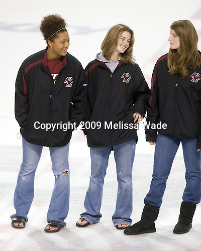 The BC women's team was honored between the first and second periods including Blake Bolden, Corinne Boyles and Laura Hart. - The University of Vermont Catamounts defeated the Boston College Eagles 3-2 on Sunday, November 15, 2009, at Conte Forum in Chestnut Hill, Massachusetts.
