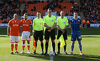 Pre-coin toss line up<br /> <br /> Photographer Stephen White/CameraSport<br /> <br /> The EFL Sky Bet League One - Blackpool v Rochdale - Saturday 6th October 2018 - Bloomfield Road - Blackpool<br /> <br /> World Copyright © 2018 CameraSport. All rights reserved. 43 Linden Ave. Countesthorpe. Leicester. England. LE8 5PG - Tel: +44 (0) 116 277 4147 - admin@camerasport.com - www.camerasport.com