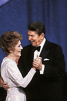 Washington DC, USA, January 20,1985<br /> Newly re-elected President Ronald Reagan and his wife Nancy dance at one of the Inaugural balls. Credit: Mark Reinstein/MediaPunch