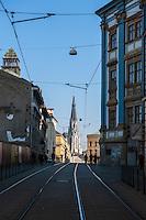 View east down Denisova street towards Saint Wenceslas Cathedral, Olomouc, Czech Republic