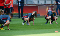 20170719 - BREDA , NETHERLANDS :  Belgian Tessa Wullaert (left) pictured with Aline Zeler (r) during Matchday -1 training session of the Belgian national women's soccer team Red Flames on the pitch of NAC BREDA , on wednesday 19 July 2017 in stadion Rat Verlegh in Breda . The Red Flames are at the Women's European Championship 2017 in the Netherlands. PHOTO SPORTPIX.BE | DAVID CATRY