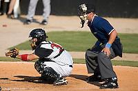Catcher Matt Inouye (20) of the Kannapolis Intimidators on defense at Fieldcrest Cannon Stadium in Kannapolis, NC, Sunday June 15, 2008.