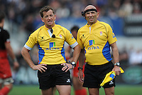 Referee JP Doyle of Ireland (left) reviews the big screen during the Aviva Premiership semi final match between Saracens and Leicester Tigers at Allianz Park on Saturday 21st May 2016 (Photo: Rob Munro/Stewart Communications)