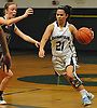 Christiana de Borja #21 of Harborfields dribbles downcourt during a Suffolk County varsity girls basketball game against Westhampton at Harborfields High School on Tuesday, Jan. 24, 2017. Harborfields won by a score of 53-25.