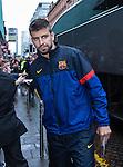 Gerard Pique arrives at Barcelona's city centre hotel