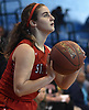 Allie Ponzio #12 of St. John the Baptist squares to the hoop for a jumper during a non-league girls basketball game against North Babylon at Robert Moses Middle School in North Babylon on Saturday, Dec. 22, 2018. North Babylon won by a score of 71-61.