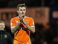 Blackpool's Nick Anderton applauds his side's travelling supporters at the end of the match <br /> <br /> Photographer Andrew Kearns/CameraSport<br /> <br /> The EFL Sky Bet League One - Portsmouth v Blackpool - Saturday 12th January 2019 - Fratton Park - Portsmouth<br /> <br /> World Copyright © 2019 CameraSport. All rights reserved. 43 Linden Ave. Countesthorpe. Leicester. England. LE8 5PG - Tel: +44 (0) 116 277 4147 - admin@camerasport.com - www.camerasport.com