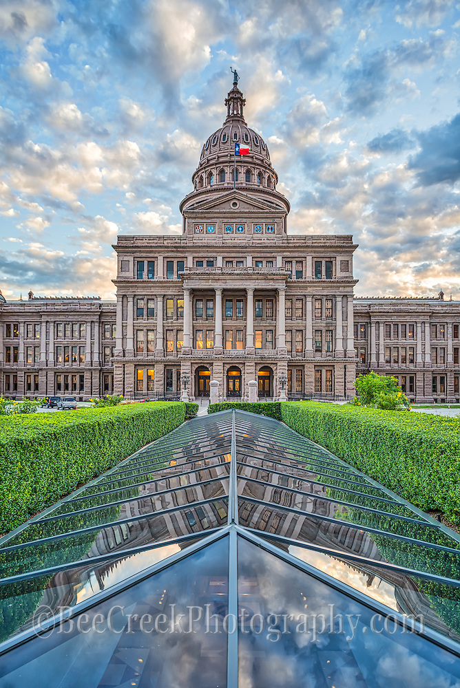 Here is a verticle capture of the Texas State Capital in downtown Austin with the beautiful clouds and sky on this day.  The capital was built in the late 1880 in a Greek Renaissance architectural and is still an impresses site.