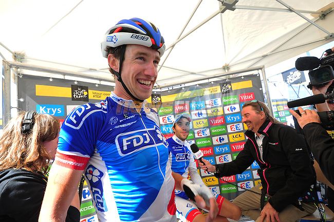 Alexandre GENIEZ and stage winner team mate Thibaut PINOT (FRA) FDJ at the end of Stage 20 of the 2015 Tour de France running 110.5km from Modane Valfrejus to Alpe d'Huez, France. 25th July 2015.<br /> Photo: ASO/B.Bade/Newsfile