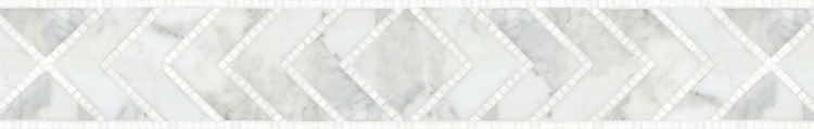 """6 1/2"""" Vincent border, a waterjet and hand cut mosaic shown in honed Calacatta Tia and polished Thassos, is part of the Silk Road Collection by New Ravenna."""