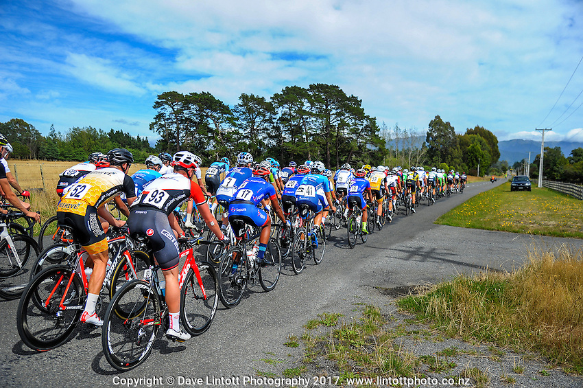 Riders approach the top of Upper Plain Rd during stage five of the NZ Cycle Classic UCI Oceania Tour in Masterton, New Zealand on Tuesday, 26 January 2017. Photo: Dave Lintott / lintottphoto.co.nz