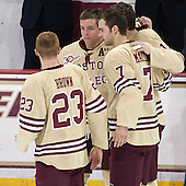 Patrick Brown (BC - 23), Bill Arnold (BC - 24), Isaac MacLeod (BC - 7), Kevin Hayes (BC - 12) - The visiting University of Notre Dame Fighting Irish defeated the Boston College Eagles 2-1 in overtime on Saturday, March 1, 2014, at Kelley Rink in Conte Forum in Chestnut Hill, Massachusetts.