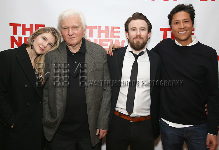 "Lily Rabe, David Rabe, Michael Rabe and Jason Rabe attends The New Group presents the New York Premiere Opening Night of David Rabe's for ""Good for Otto"" on March 8, 2018 at the Green Fig Urban Eatery,  in New York City."
