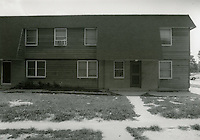 1990 July ..Assisted Housing.Oakleaf Forest...Head-on shots of typical 1 & 2 story cottages all sides.B & W Study.(HOUSING: Oaklf fr:1  :5  R1)...NEG#.NRHA#..