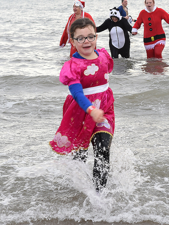 Aine Finnegan having fun at the Polar Plunge at Clogherhead Beach in aid of the Special Olympics. Photo:Colin Bell/pressphotos.ie