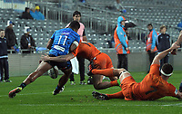 Tumua Manu loses the ball in a tackle during the Super Rugby match between the Blues and Jaguares at Eden Park in Auckland, New Zealand on Friday, 28 April 2018. Photo: Dave Lintott / lintottphoto.co.nz