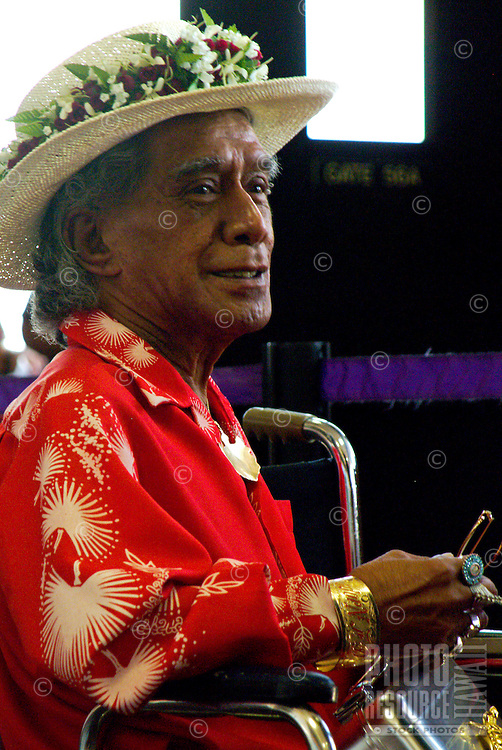 Kumu Uncle George Naope, one of the founders of the Merrie Monach hula festival