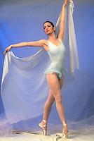 Ballet dancer, dressed in blue. ballerina.