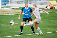 Kansas City, MO - Thursday August 10, 2017: Maegan Kelly, Mccall Zerboni during a regular season National Women's Soccer League (NWSL) match between FC Kansas City and the North Carolina Courage at Children's Mercy Victory Field.