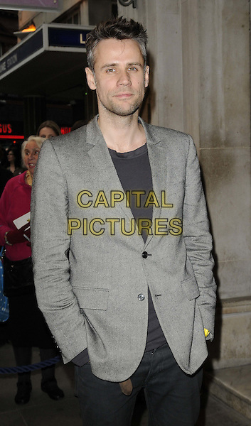 Richard Bacon.attended the 'Abigail's Party' press night, Wyndhams Theatre, Charing Cross Rd., London, England, UK, May 18th 2012..half length grey gray jacket hands in pockets .CAP/CAN.©Can Nguyen/Capital Pictures.
