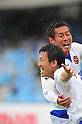 (T-B) Daisuke Saito, Jiro Kamata (Vegalta), APRIL 23rd, 2011 - Football : Jiro Kamata of Vegalta Sendai celebrates with his teammate Daisuke Saito after scoring their second goal during the 2011 J.League Division 1 match between Kawasaki Frontale 1-2 Vegalta Sendai at Todoroki Stadium in Kanagawa, Japan. (Photo by AFLO).