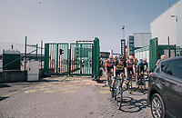 a jolly Lars Boom (NED/LottoNL-Jumbo) cruising through the Antwerp Harbour docks during the neutralised section<br /> <br /> 92nd Schaal Sels 2017 <br /> 1 Day Race: Merksem > Merksem (188km)
