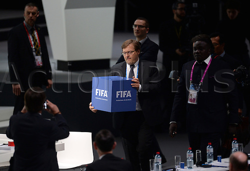 26.02.2016. Zurich, Switzerland.  An official holds a ballot box during the second round of voting during the Extraordinary FIFA Congress 2016 at the Hallenstadion in Zurich, Switzerland, 26 February 2016. The Extraordinary FIFA Congress is being held in order to vote on the proposals for amendments to the FIFA Statutes and choose the new FIFA President.