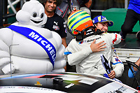 #25 BMW Team RLL BMW M8, GTLM: Alexander Sims, Connor de Phillippi celebrate the win in victory lane