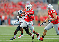 Ohio State Buckeyes running back Dontre Wilson (2) finds space to run during the first quarter of Saturday's NCAA Division I football game at Ohio Stadium in Columbus on September 27, 2014. (Columbus Dispatch photo by Jonathan Quilter)