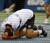 Novak Djokovic (SRB) (3) against Roger Federer (SUI) (2) in the Semi-Finals of the men's singles. Novak Djokovic beat Roger Federer 5-7 6-1 5-7 6-2 7-5..International Tennis - US Open - Day 13 - 11 Sep 2010 - USTA Billie Jean King National Tennis Center - ..© AMN Images, Level 1, Barry House, 20-22 Worple Road, London, UK, SW19 6HU.Tel - +44 20 8947 0100.email - mfrey@advantagemedianet.com.web - http://amnimages.photoshelter.com/.web - www.advantagemedianet.com