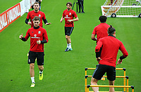 Ben Davies (L) in action during the Wales Training Session at the Vale Resort, Hensol, Wales, UK. Tuesday 29 August 2017