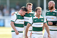 Alun Walker and James Cordy-Redden of Ealing Trailfinders after the match. Greene King IPA Championship match, between Ealing Trailfinders and Bedford Blues on April 20, 2019 at the Trailfinders Sports Ground in London, England. Photo by: Patrick Khachfe / Onside Images