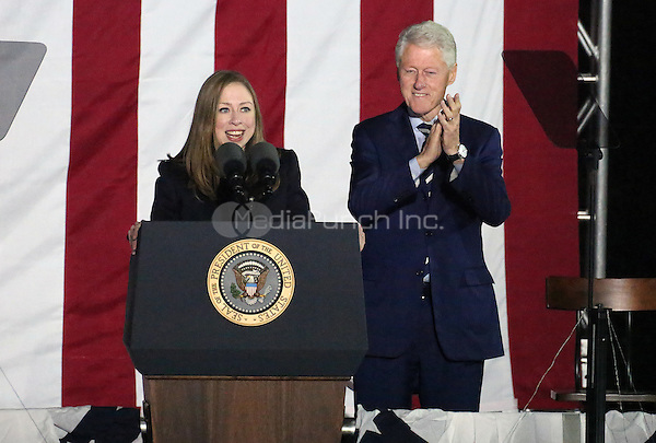 PHILADELPHIA, PA - NOVEMBER 7: Bill Clinton and Chelsea Clinton at the GOTV Rally in support of Hillary Clinton for President at Independence Mall in Philadelphia, Pennsylvania on November 7, 2016. Credit: Star Shooter/MediaPunch